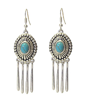 NAVAJO STYLE TEXTURED METAL AND BAR DROP EARRING