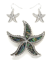 SEALIFE THEME ABALONE PENDANT AND EARRING SET - STARFISH