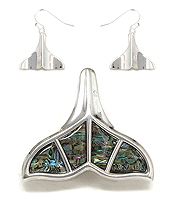 SEALIFE THEME ABALONE PENDANT AND EARRING SET - WHALE TAIL