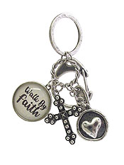 RELIGIOUS INSPIRATION MULTI CHARM CABOCHON KEY CHAIN - WALK BY FAITH