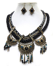 THREE LAYER RWISTED ROPE AND CHAIN TRIBAL STYLE NECKLACE SET
