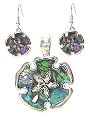 ABALONE SAND DOLLAR MAGNETIC PENDANT AND EARRING SET