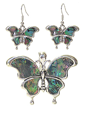 ABALONE BUTTERFLY MAGNETIC PENDANT AND EARRING SET