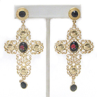 ROSE PRINT STONE CENTER METAL FILIGREE CROSS EARRING