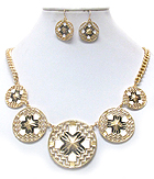 EPOXY CROSS ON TEXTURED MULTI DISK LINK NECKLACE EARRING SET