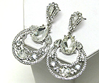 MULTI SIZE FACET GLASS AND CRYSTAL HALF OVAL AND TEAR DROP EARRING