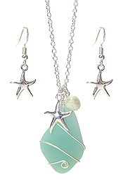 WIRE WRAP SEA GLASS AND PEARL PENDANT NECKLACE SET - STARFISH