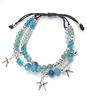 MULTI GLASS BEAD DOUBLE LAYER PULL TIE BRACELET - STARFISH
