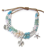 MULTI GLASS BEAD DOUBLE LAYER PULL TIE BRACELET - SEA LIFE