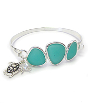 SEA GLASS BANGLE BRACELET - TURTLE