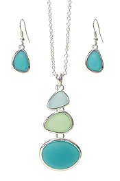 SEALIFE THEME MULTI SEA GLASS LINK DROP PENDANT NECKLACE SET