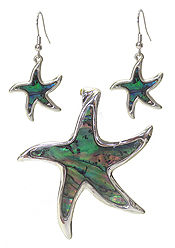 ABALONE STARFISH PENDANT AND EARRING SET