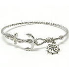 CRYSTAL WHEEL CHARM AND ANCHOR AND TWIST WIRE BAND BANGLE BRACELET