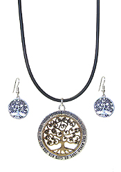 RELIGIOUS INSPIRATION MESSAGE PENDANT NECKLACE SET - TREE OF LIFE