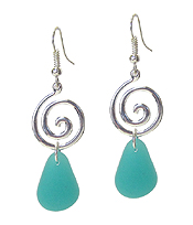 SEA GLASS DROP SWIRL EARRING