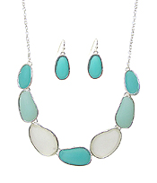 MULTI SEA GLASS LINK NECKLACE SET