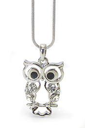 WHITEGOLD PLATING CRYSTAL STUD OWL PENDANT NECKLACE