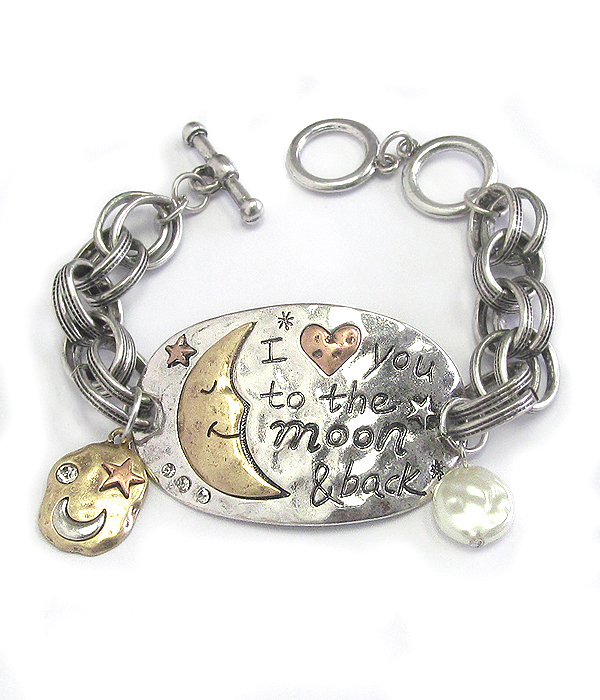 LOVE MESSAGE MOON TOGGLE BRACELET - I LOVE YOU TO THE MOON AND BACK