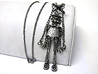 BURNISH METAL CRYSTAL STUD PUPPET PENDANT LONG CHAIN NECKLACE