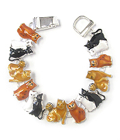 METAL EPOXY KITTY THEME MAGNETIC CLASP BRACELET