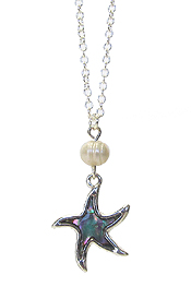 SEA LIFE THEME ABALONE PENDANT AND FRESH WATER PEARL NECKLACE - STARFISH
