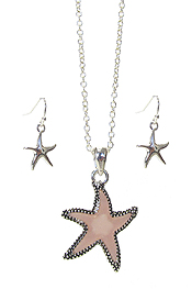 SEA GLASS STARFISH PENDANT NECKLACE SET