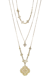 METAL FILIGREE QUATREFOIL AND CROSS 3 LAYER NECKLACE