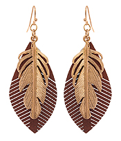 METAL AND LEATHER FEATHER EARRING