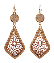 DRUZY AND METAL FILIGREE DROP EARRING
