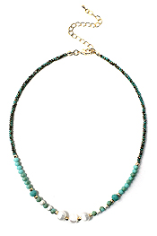 MULTI FRESHWATER PEARL AND FACET STONE MIX NECKLACE