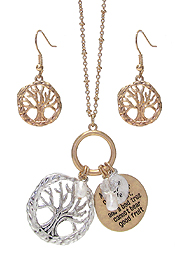 RELIGIOUS INSPIRATION MESSGAE ON DISC PENDANT NECKLACE SET - TREE OF LIFE