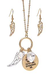 RELIGIOUS INSPIRATION MESSGAE ON DISC PENDANT NECKLACE SET - PHIL 4:13