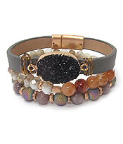 DRUZY AND MULTI GLASS BALL BEAD MIX STRETCH AND MAGNETIC MIX BRACELET SET