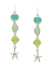 SEALIFE THEME MULTI SEAGLASS LINK DROP EARRING - STARFISH