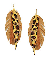 ANIMAL PRINT TASSEL AND FEATHER EARRING