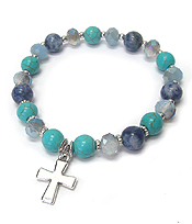 MULTI SEMI PRECIOUS STONE AND GALSS BEAD MIX STRETCH BRACELET - CROSS