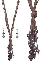 MULTI PEARL AND SUEDE CHAIN NECKLACE SET