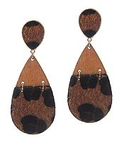 WOOD AND LEATHERETTE TEARDROP EARRING - ANIMAL PRINT