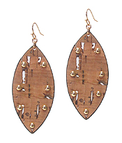 CORK AND METAL STUD OVAL EARRING