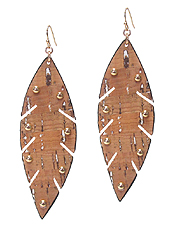 CORK AND METAL STUD LEAF EARRING