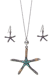 WIRE WRAP STARFISH NECKLACE SET