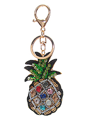 MULTI STONE AND SEQUIN MIX KEY CHAIN - PINEAPPLE