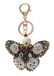 MULTI SEED BEAD MIX KEY CHAIN - BUTTERFLY