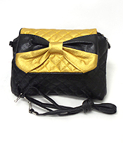 METALLIC COLOR TONE BOW MESSANGER BAG