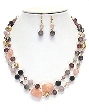 SEMI PRECIOUS STONE MIX DOUBLE LAYER NECKLACE SET