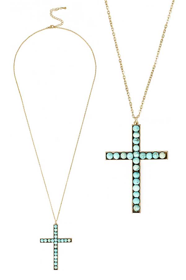 SEMI PRECIOUS STONE CROSS PENDANT LONG NECKLACE - TURQUOISE