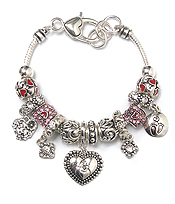 EURO STYLE  MULTI CRYSTAL RING AND HEART CHARM BRACELET