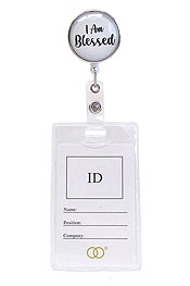 CLIP BACK RETRACTABLE REEL CABOCHON ID HOLDER - I AM BLESSED