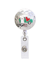CLIP BACK RETRACTABLE REEL CABOCHON ID HOLDER - HAPPY CAMPER