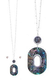 OVAL ABALONE PENDANT LONG NECKLACE SET